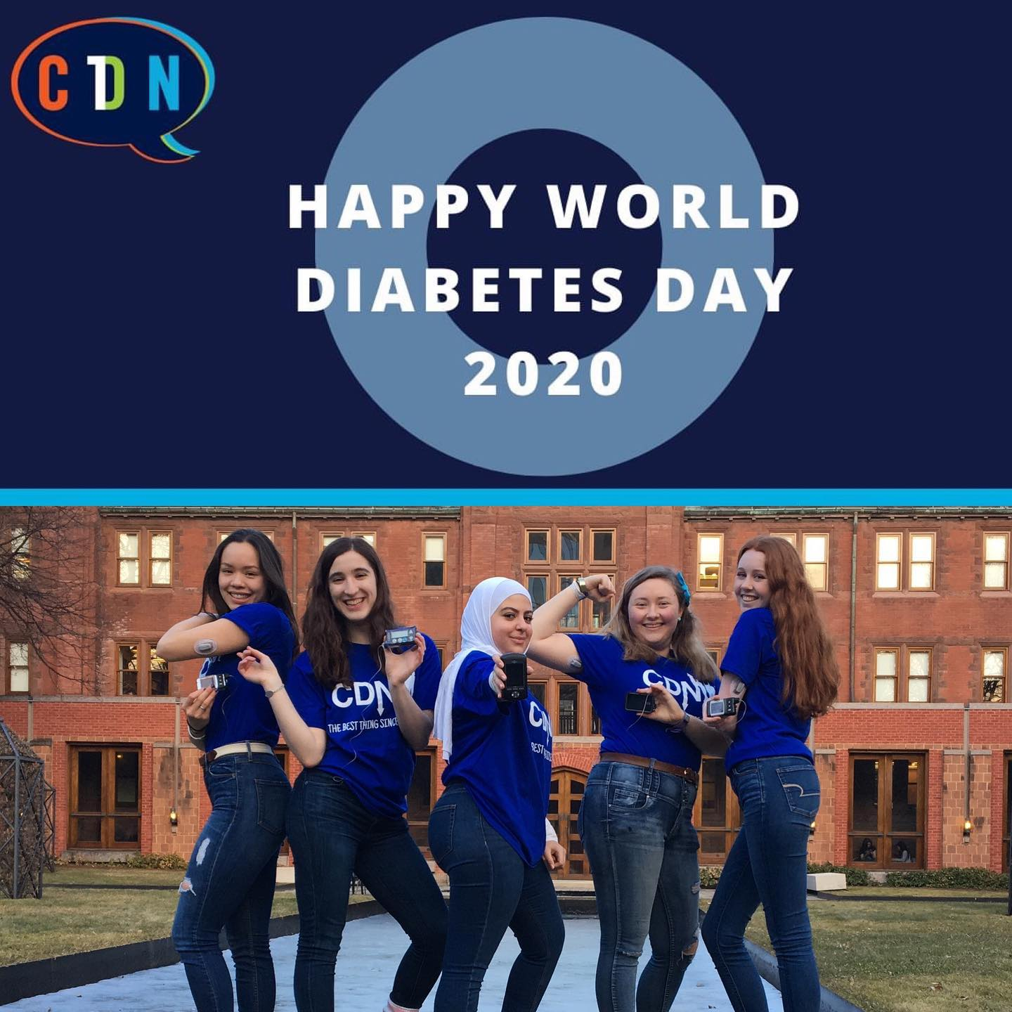 "Top half of the photo says ""Happy World Diabetes Day"" in text on top of a blue circle. Bottom of the photo shows 5 young women in CDN T-shirts, posing with their insulin pumps."